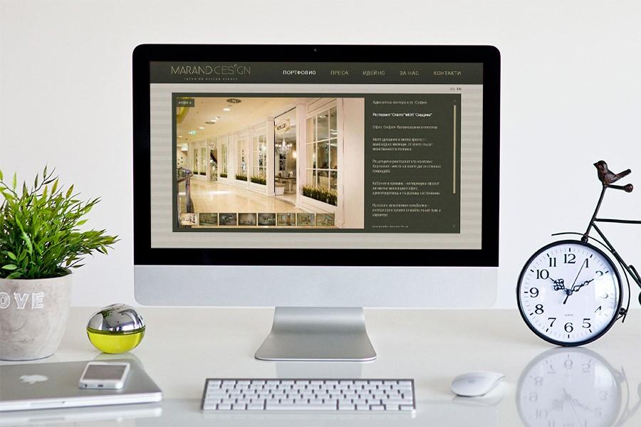 Изработка на уеб сайт и фирмена идентичност за интериорно студио Marand design